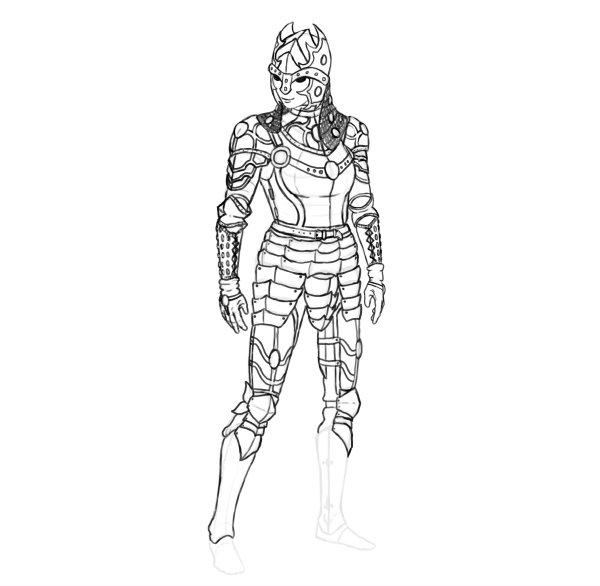 draw realistic female armor functional boots