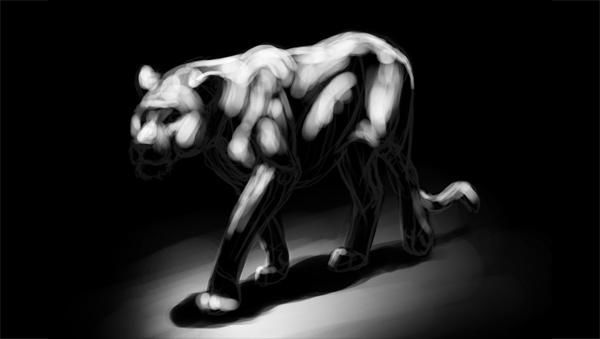 lion painting white light