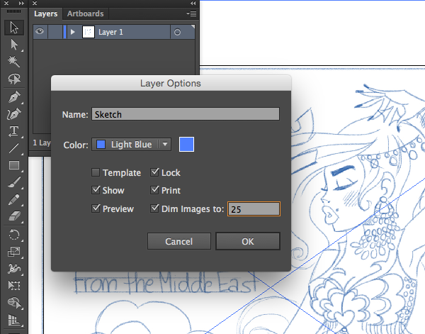 locking layers and creating new layers layer options panel sketch lock print dim images 25 trace percentage illustrator adobe