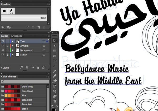 Type tool align left align right bellydance music from the Middle East paragraph
