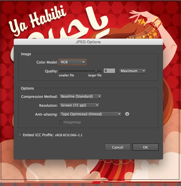 JPEG options box color mode rgb screen resolution 72ppi ok