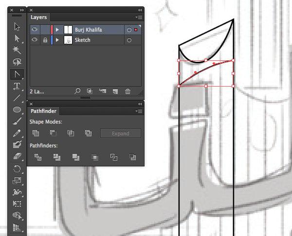 Line segment Tool Achor Point Shift Selection UAE National Day Poster Sketch Burj Khalifa