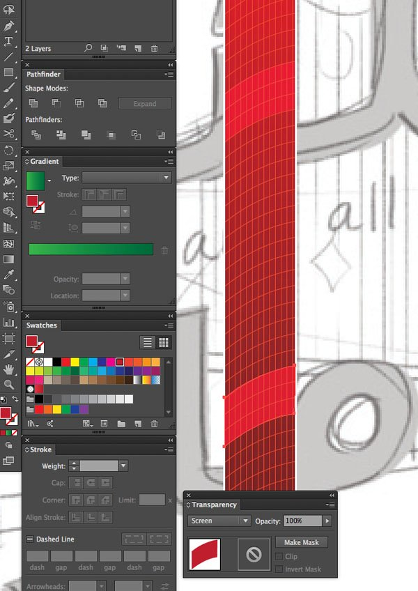 Select all Lock Selection Group Pen Tool Window transparency Arrange Bring to Front Command Shift Linear angle Stroke Gradient Blending Mode Stroke Color copy paste front back Duplicate Rectangle Selection UAE National Day Poster Sketch Burj Khalifa Sketch Layer Screen Unlock All