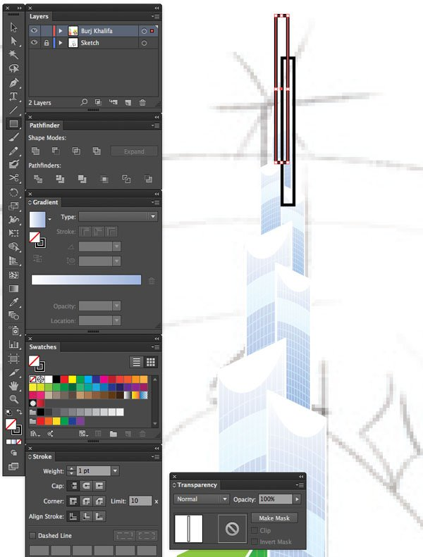 File Save Rectangle tool File Color Group Window transparency Arrange Bring to Front Command Shift Linear angle Stroke Gradient Blending Mode Stroke Color copy paste front back Duplicate Rectangle Selection UAE National Day Poster Sketch Burj Khalifa Sketch Layer