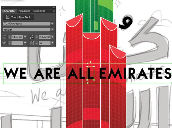touch type Tool Dafont Nova Arabic English Font Size Window transparency Arrange Bring to Front Command Shift Linear angle Stroke Gradient Blending Mode Stroke Color copy paste front back Duplicate Rectangle Selection UAE National Day Poster Sketch Burj Khalifa Sketch Layer