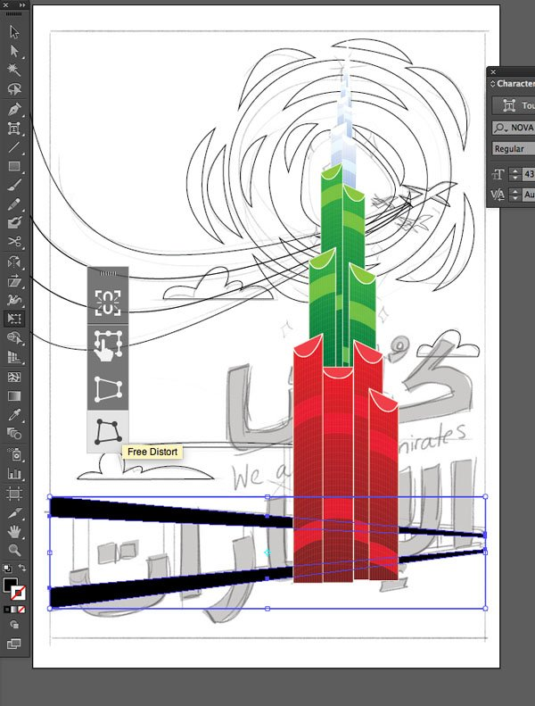 Rectangle Tool E Vertical Distort Results Pen Window transparency Arrange Bring to Front Command Shift Linear angle Stroke Gradient Blending Mode Stroke Color copy paste front back Duplicate Rectangle Selection UAE National Day Poster Sketch Burj Khalifa Sketch Layer