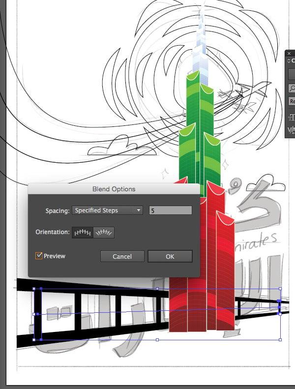 Rectangle Tool Blend Make Command Option Window transparency Arrange Bring to Front Command Shift Linear angle Stroke Gradient Blending Mode Stroke Color copy paste front back Duplicate Rectangle Selection UAE National Day Poster Sketch Burj Khalifa Sketch Layer