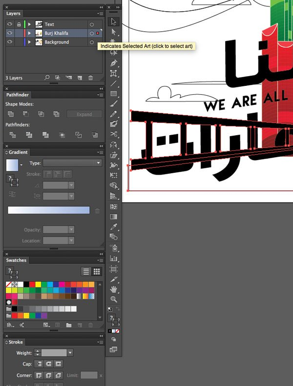 File Save Sketch layer Cover tower Blend Expand Window transparency Arrange Bring to Front Command Shift Linear angle Stroke Gradient Blending Mode Stroke Color copy paste front back Duplicate Rectangle Selection UAE National Day Poster Sketch Burj Khalifa Sketch Layer