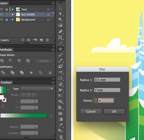 Radius Star Tool  Rectangle Points Ok Window transparency Arrange Bring to Front Command Shift Linear angle Stroke Gradient Blending Mode Stroke Color copy paste front back Duplicate Rectangle Selection UAE National Day Poster Sketch Burj Khalifa Sketch Layer