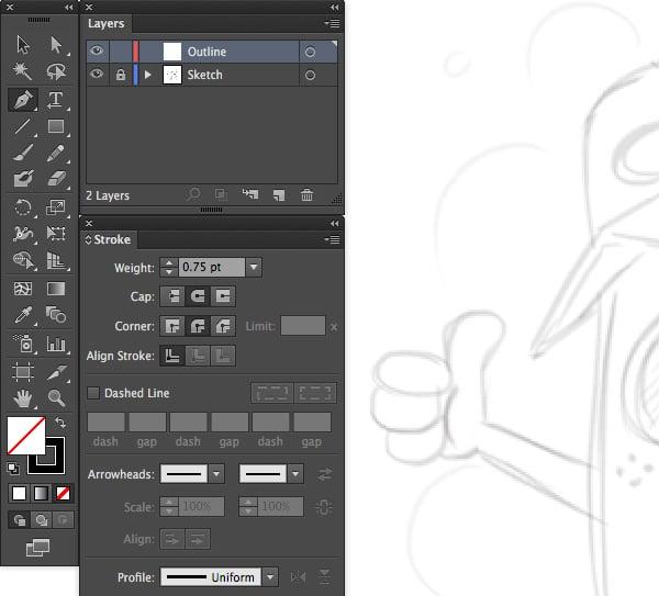 adobe illustrator outline sketch weight stroke cap corner uniform profile