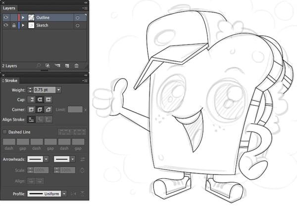 adobe illustrator trace pen tool mascot stroke weight basic lines
