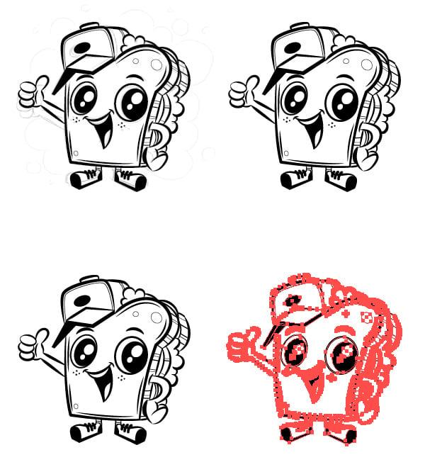 adobe illustrator mascot duplicate four versions artboard