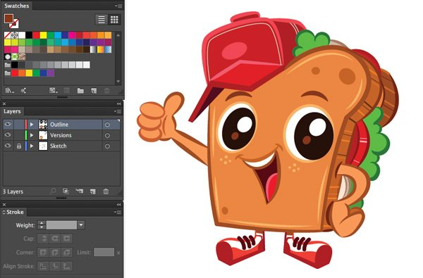 adobe illustrator color version mascot by miss chatz toast sandwich character design