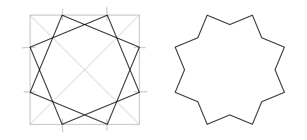 Octagram in a square