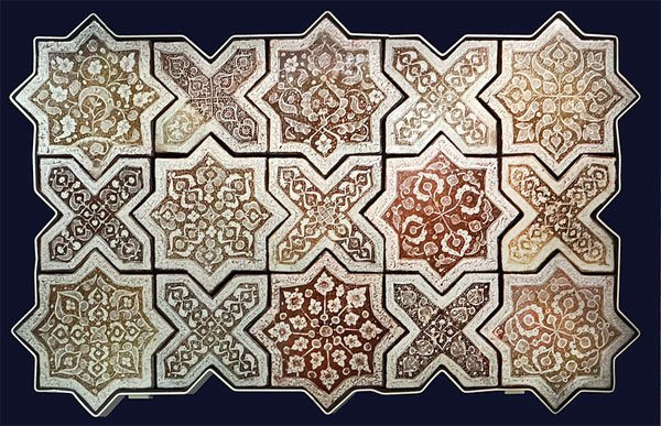 Tiles from Iran forming the Breath of the Compassionate pattern