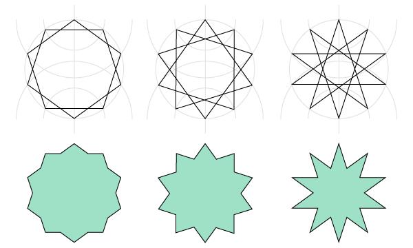 Different decagrams