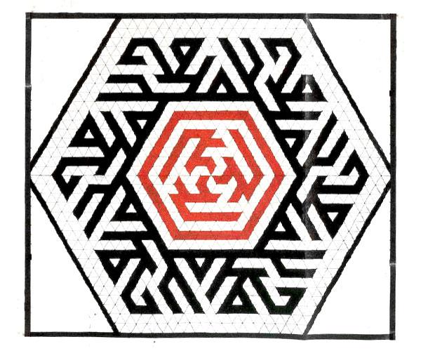 Hexagonal composition using the triangular grid