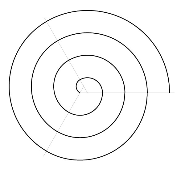 Regular spiral on three points finished