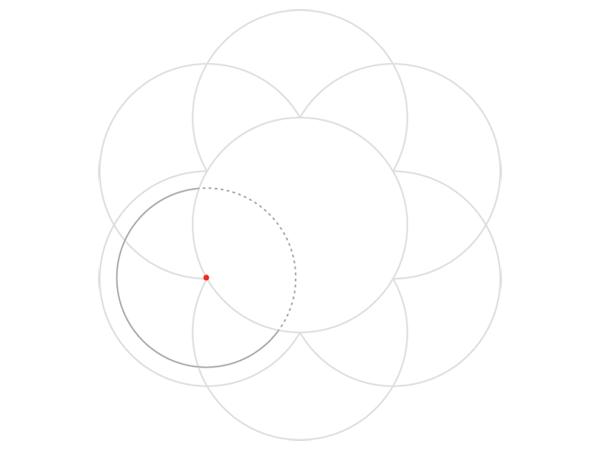 Rose-shaped knot step 2a