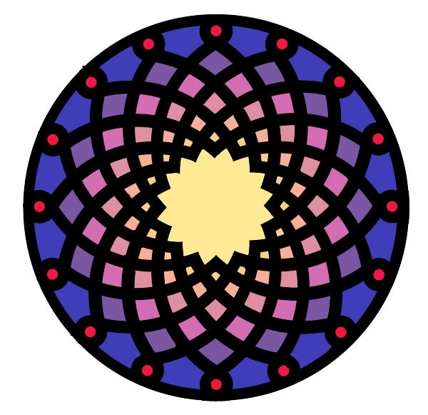 Armenian knot stained-glass effect