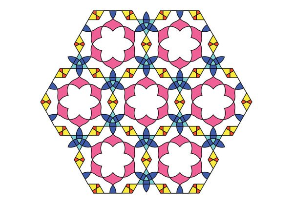 Flowery tiling pattern version 2 coloured