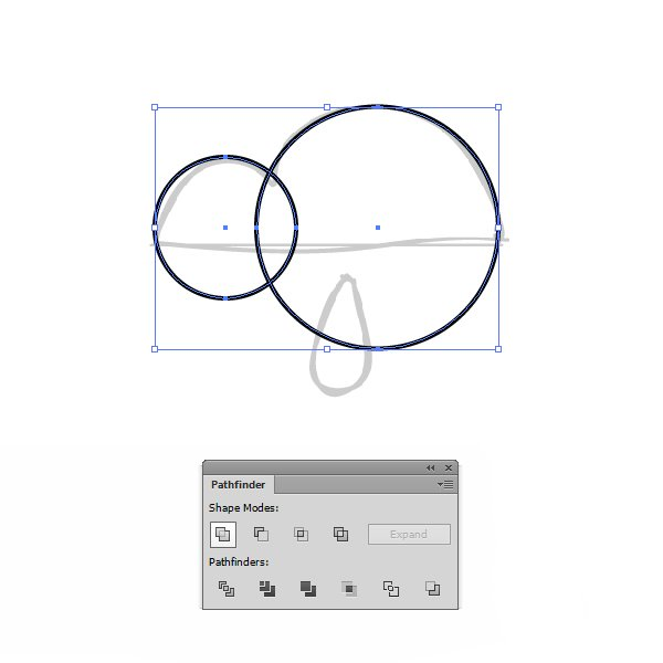 Using the Ellipse Tool draw two circles over the cloud sketch