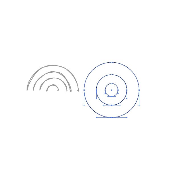 Using the Ellipse Tool make 3 concentric circles