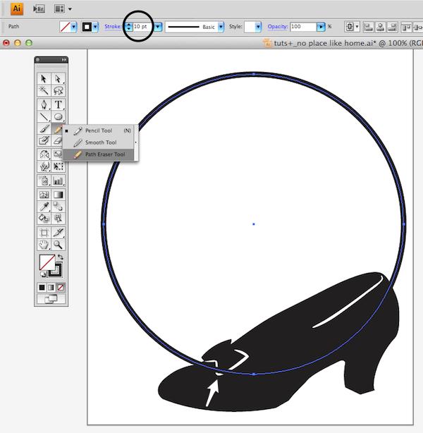 adding circle stroke and erasing path