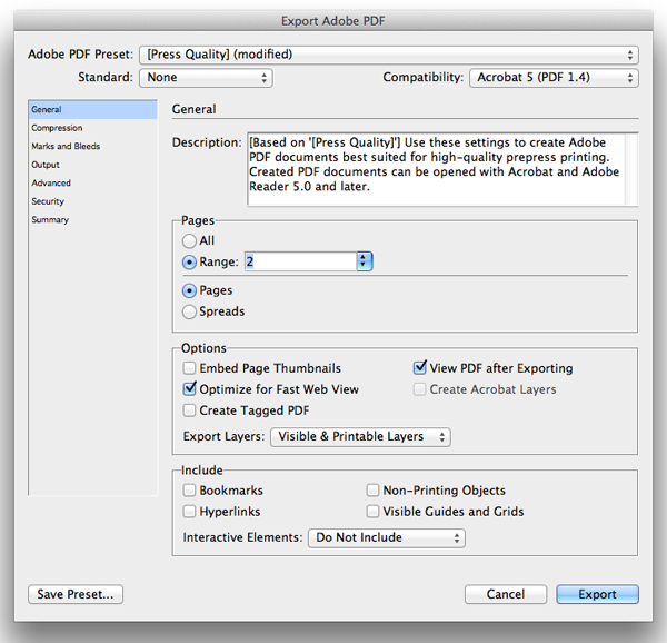 export PDF for print