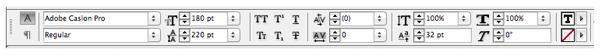 character formatting controls panel