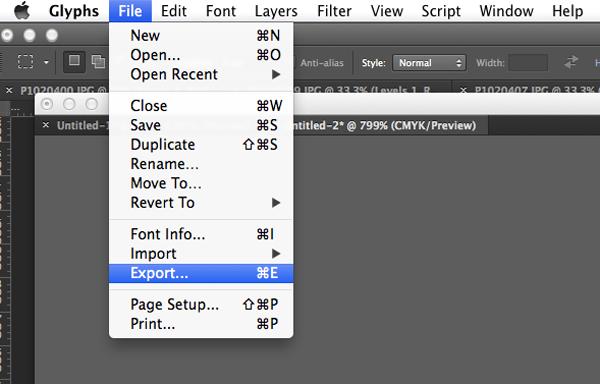 Export to digital font