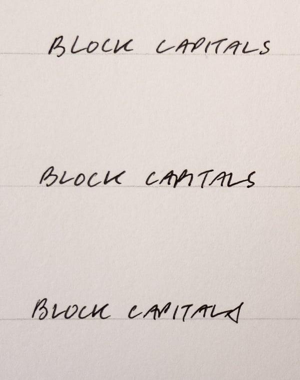 block capital writing