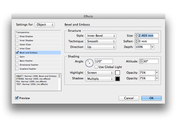 bevel and emboss effects window