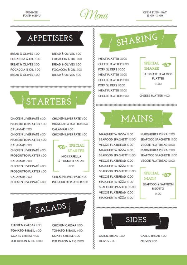 Reverse of menu