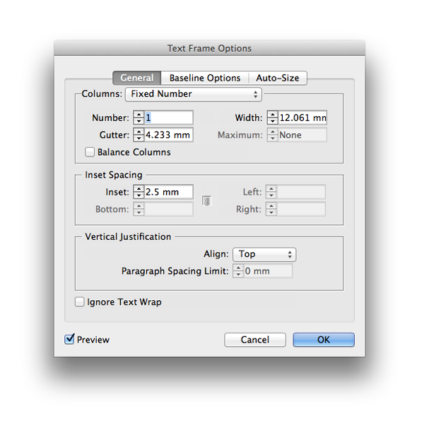 text frame options