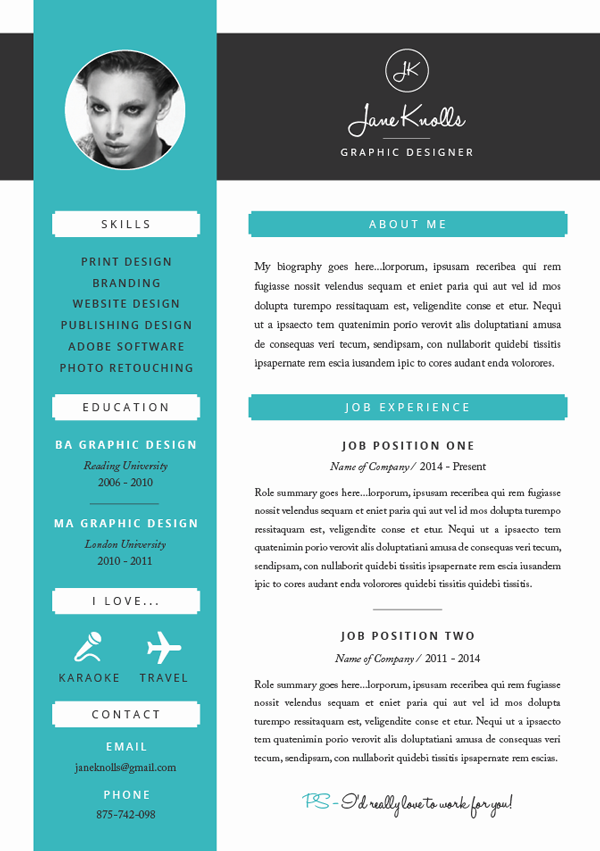 blue and white resume