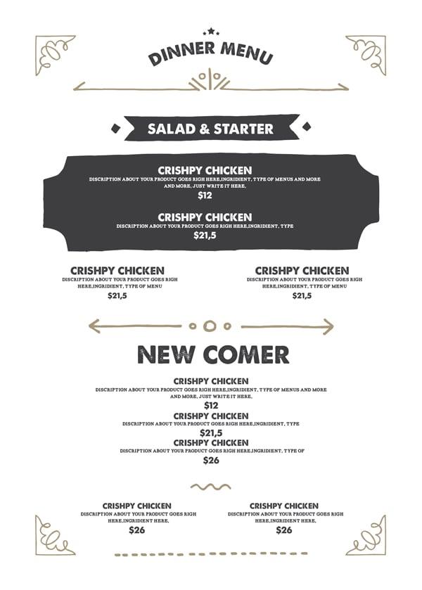 trendy menu