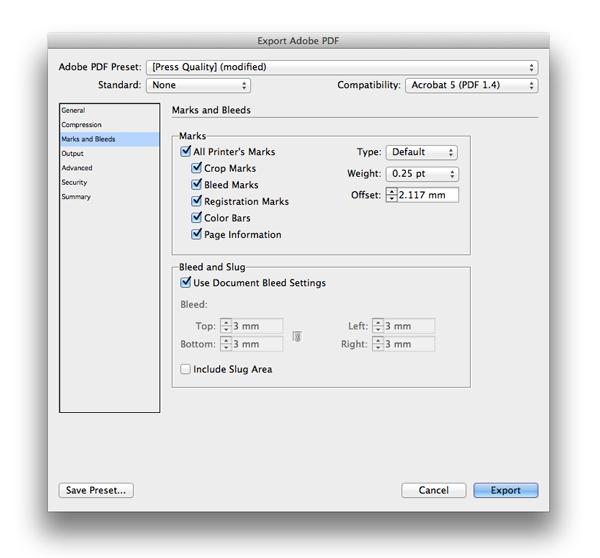 export adobe pdf press quality