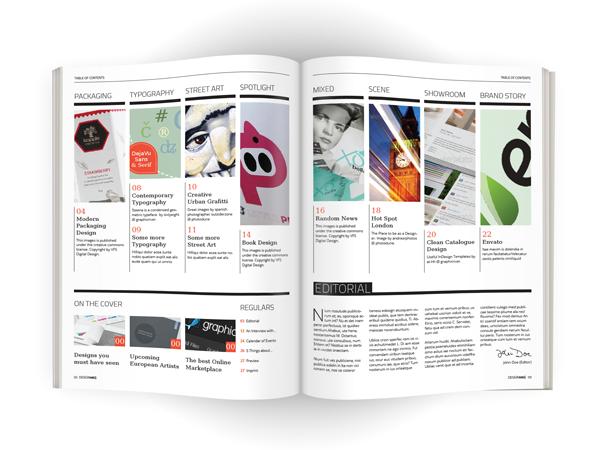 design magazine contents