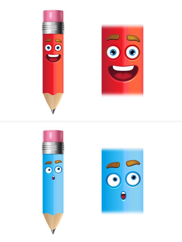 add face to pencils