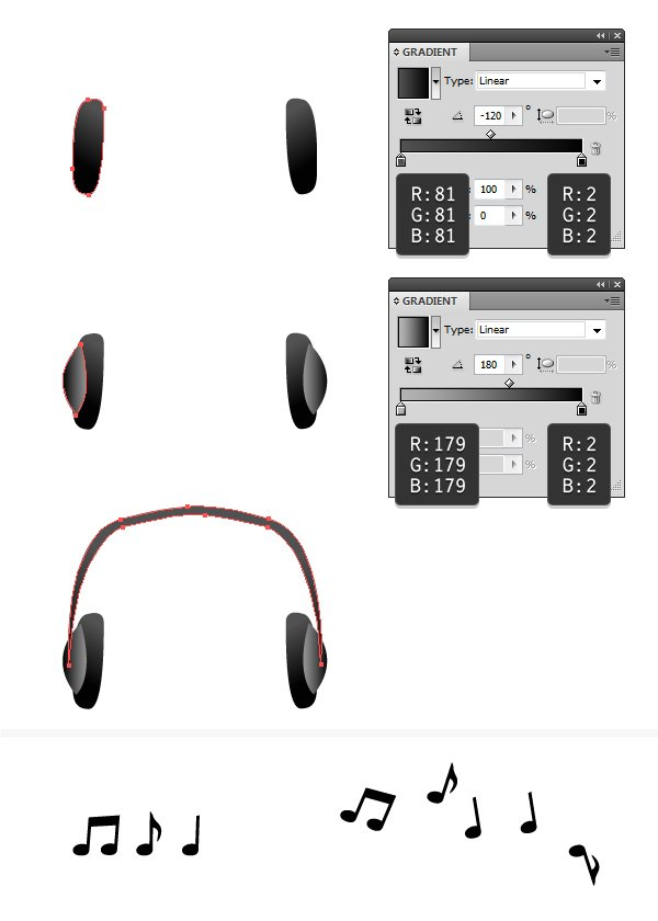 create headphones and music notes