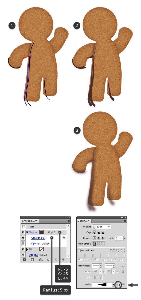 add shading to gingerbread man 1