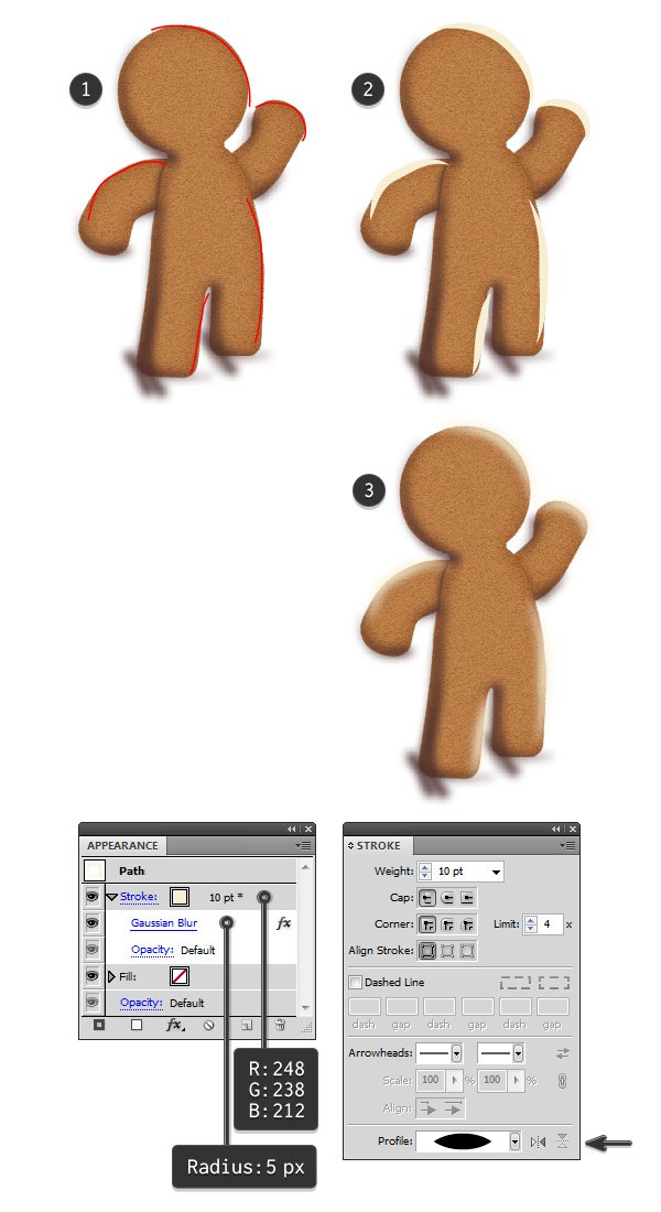 add highlights to gingerbread man 1