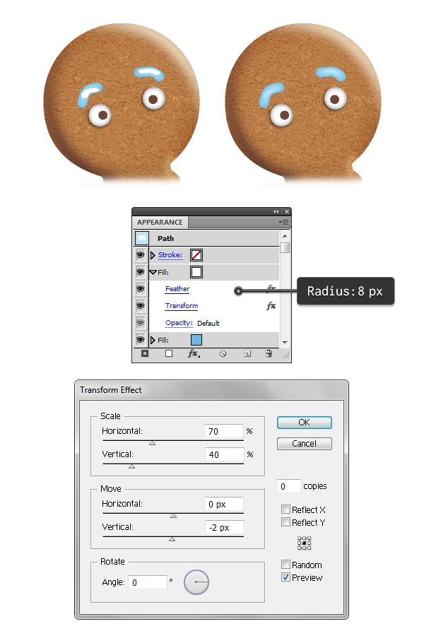 create gingerbread man eyebrows 3