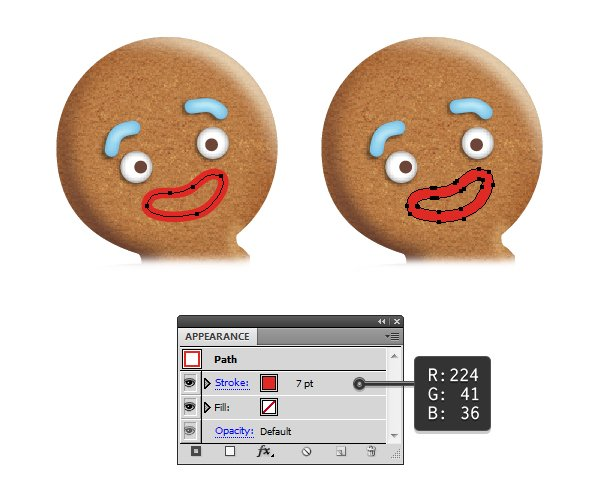 create gingerbread man mouth 1