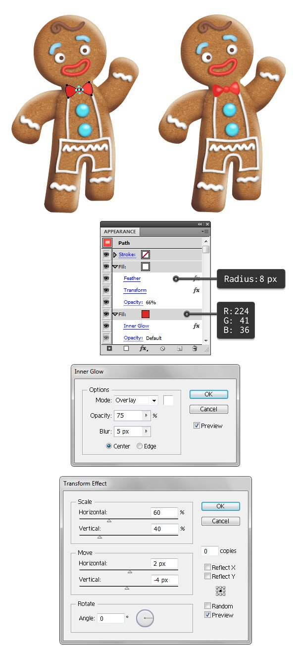 create gingerbread man bow tie 1