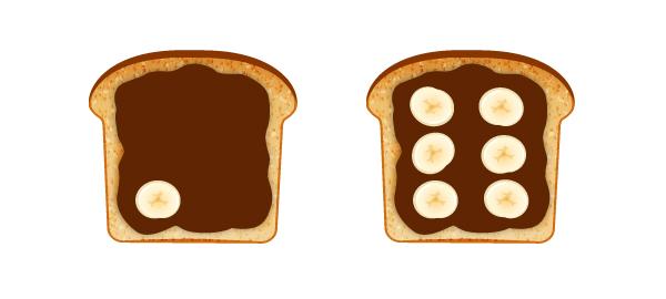 create chocolate banana on toast