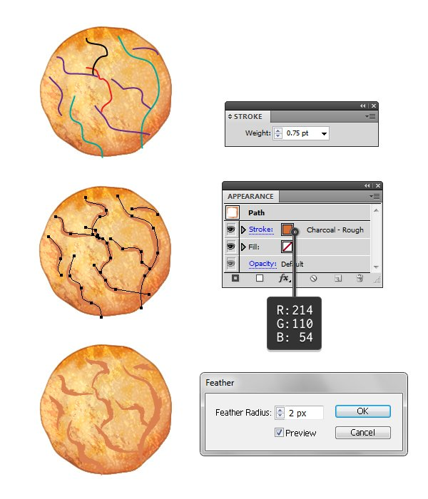 Draw crack paths on cookie
