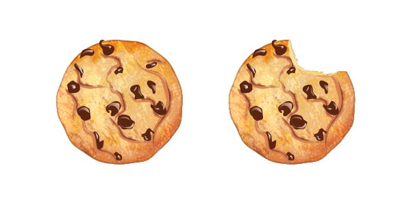 whole cookie and bitten cookie
