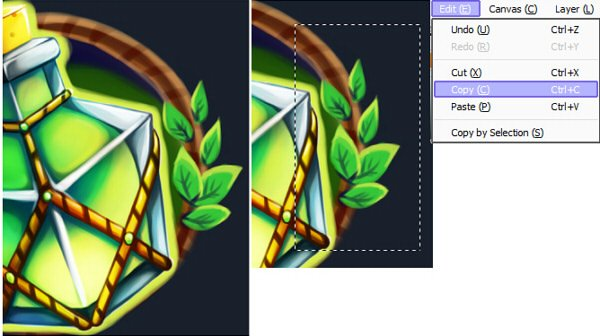 Decorating icon with leaves
